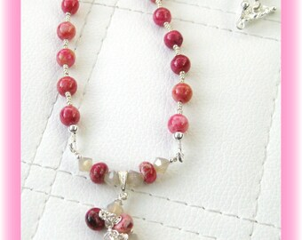 Pink Lace Agate with Swarovski Crystal Pendant Necklace