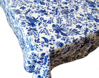 French Tablecloth, Coated Tablecloth, Blue and White Tablecloth