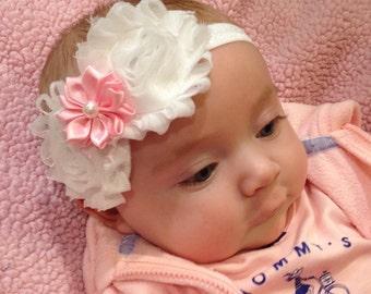 Shabby Baby Headband, newborn headband, shabby chic, infant headband, toddler, pink and white, red and white, toddler headband