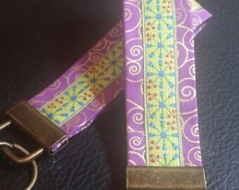 Key Chains-Key Rings-Key Fobs-Purple Swirl n' Lime Green Ribbon
