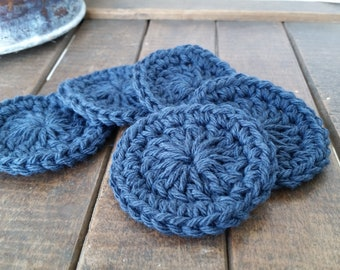 Crochet Navy Facial Scrubbies, Set of 5