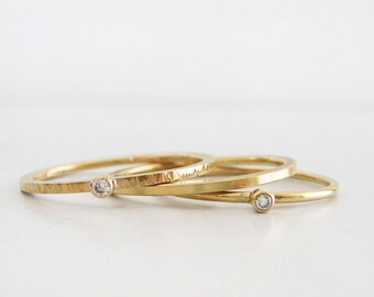 Tiny Diamond Ring Set of 3 | 14k Gold Stacking Rings | Thin Gold Ring Set | Recycled Gold and Diamond Ring