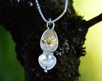 Silver and Gold Bumblebee Locket