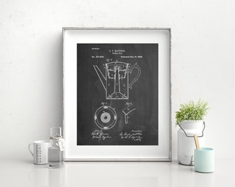 Coffee Percolator 1880 Patent Art, Vintage Coffee, Coffee Shop Decor, Diner Decor, Kitchen Wall Art, PP0078