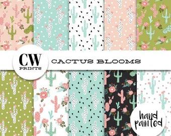 Cactus Blooms Digital Paper Pack: 12x12 inch paper, 10 cactus, flowers, cacti bloom, cactuses, Digital Background Paper, Digital Printables,