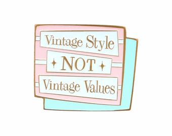 Vintage style, not vintage values jumbo enamel lapel pin brooch