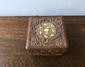 Vintage Wood Jewelry Box, Carved Wood Trinket Box, Square Shaped, Bohemian Home Decor, Bohemian Decor, Rustic Wood Stash Box