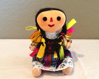 "Vintage Traditional Mexico Mexican Folk Art Doll 6"" Colorful"