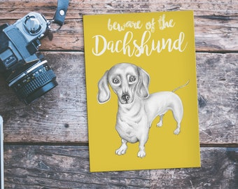 Dachshund Postcard, Dachshund Card, Sausage Dog Card, Dachshund Sign, Dachshund Gift, Sausage Dog Gifts, Wiener Dog, Beware of the Dachshund