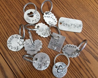 Hand Stamped Pewter Keyring - Customized