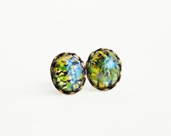 Olive Green Opal Post Earrings Opal Studs Vintage Foiled Glass Fire Opal Earring Studs Hypoallergenic Studs Olivine Green Opal Jewelry