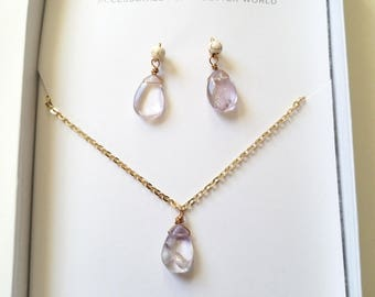Lavender Amethyst Necklace and Earring Gift Set