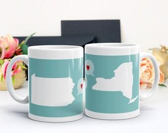 Long Distance Mug, Custom Mug, Long Distance Sister Mug, Long Distance Relationship Mug, State Mugs, Mothers Day Gift, Gift for Her