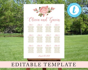 EDITABLE Floral Wedding Seating Chart Template   Pink Peonies Wedding Reception Sign   DIY Find Your Seat Poster   Templett Digital File