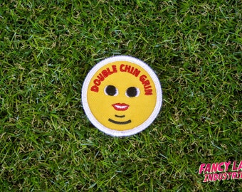 Double Chin Grin - Girth Guides patch for fat activists, Fat Activism, Fat Acceptance, Fat Liberation, Body Positive