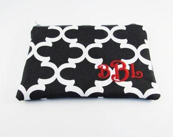 Cosmetic Bag - Embroidered Makeup bag - Black Fulton Clutch - Bridesmaid clutches - Medium