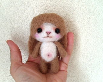 Miniature amigurumi, collectible toy, doll house, mini bunny