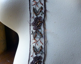Brown Copper Beaded Lace Trim Embroidered for Garments, Costumes TR 260