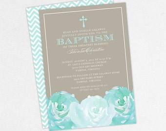 Baptism Invitation, Christening Invitation, Girl Baptism, Printable Baptism Invitation, PDF, Flowers, Floral, Watercolor, Peony, Blue, Haley