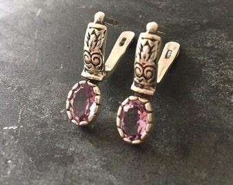 Amethyst Earrings, Natural Amethyst, February Birthstone, Vintage Earrings, February Earrings, 4 Carats, Victorian Earrings, Solid Silver