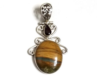 925 Sterling Silver Rhyolite & Garnet Pendant
