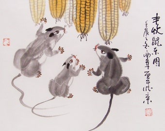 mouse  paintings Original  chinese  painting oriental art watercolour-mouse with corns  No.4