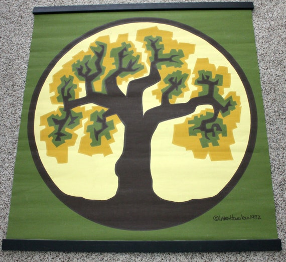 Lars Hawkes 1972 Silkscreen Wall Hanging Art Print, Mid Century Abstract Tree, Avocado Green, Gold, Yellow