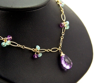 Amethyst Chalcedony Gold Necklace || Lavender Amethyst Delicate Necklace || Aqua Chalcedony Gold Necklace