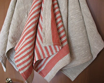 Set of 3 Linen Towels  -Rustic kitchen  or hand towels  - dish towels,  Natural Linen Towels -  Thick  Linen towels