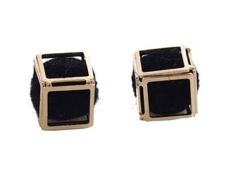Pendants in the shape of 3D Cube gold and black tassel about 1.5 cm / geometric