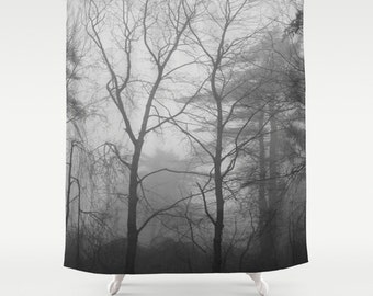 Black and White Woodland Fog Shower Curtain, forest curtain, trees shower curtain, woodland shower, forest shower, black white curtain