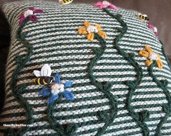 Knitting Pattern - May Flowers Pillow