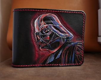 Darth Vader's handmade leather wallet from Star Wars universal