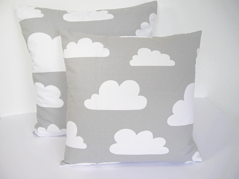 Scandinavian Swedish Farg & Form fabric Kids cushion cover - Grey Clouds