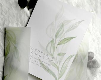 Modern Greenery Wedding Invites - Wedding Stationery Collection - Wedding Invites - Save the Dates -Stylish Wedding Invitation Pack