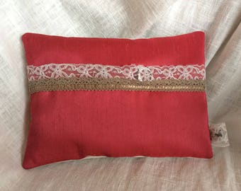 Taupe, pink and cream silk lace wedding ring cushion