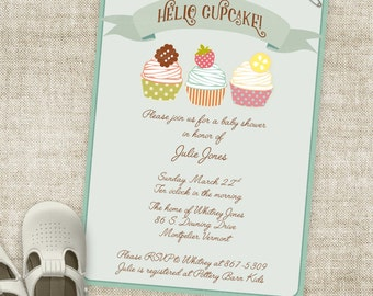 Cupcake Boy Baby Shower Invitation Banner Custom Digital Printable File with Professional Printing Option Hello Cupcake
