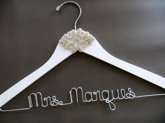 White RHINESTONE Wedding Dress Hanger Crystal Bride Hanger