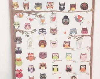paper sticker  owl