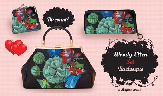 retro handbag set, vintage handbag set,Burlesque,christmas,gifts,gifts for her,Woody Ellen handbag,christmas gifts,christmas gift ideas