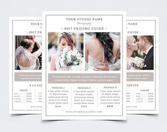 "Photography Pricing Guide Template for Photoshop 010 - 8.5"" x 11"" Price Sheet - Photographer Template - Photography Template"