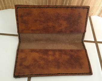 "Vintage 60's  ""LEATHER CHECKBOOK HOLDER"" Dark Amber Color"