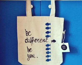 Regenerated organic cotton Shopper hand painted Be You