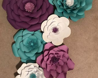 Paper flowers, flower backdrop, 3D flowers, wall flowers, Giant paper roses - SET OF 6 Flowers