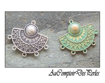 Pendentifs connecteurs éthnique, 5 anneaux argent antique ou doré patiné vert 31x35mm, 2 pcs