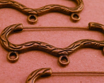 Unusual Antiqued Brass Steampunk Safety Pin Style Brooch Base Blank set of three