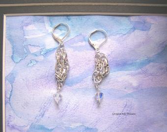 Swarovski Disco Lights Chain Dangle Earrings Girls Night Out original design bright silver tone gift for her, GBT327