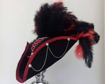 Gothic  steampunk black & red pirate tricorn  hat
