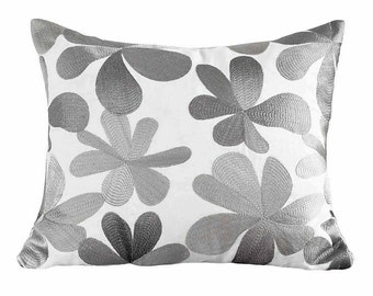 Silver Pillows, Floral Pillow, Designer Pillows, Throw Pillows, Cushion Cover, Grey, Gray White, Embroidered, Zipper, Textured, Linen, 18x18