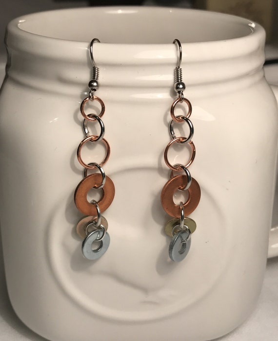 Copper Brass and Silver Hardware Dangle Earrings